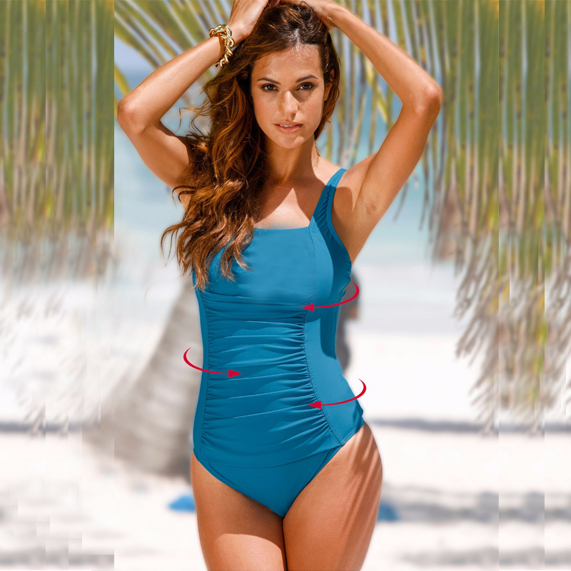 038a1a97539 NAKIAEOI 2019 New One Piece Swimsuit Women Plus Size Swimwear Large Size  Vintage Retro Padded Beach Bathing Suits Swim Wear 4XL-in Body Suits from  Sports ...