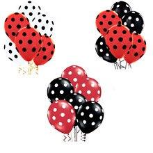 35pcs Ladybug Black Red Spot Polka dot latex balloons globos Mickey Minnie party Birthday presents balloons wedding Decorations