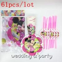61 PZ Minnie Mouse tema per feste di compleanno per bambini di paglia decorazione tovaglia piastre tazza del fumetto trolls tema per feste