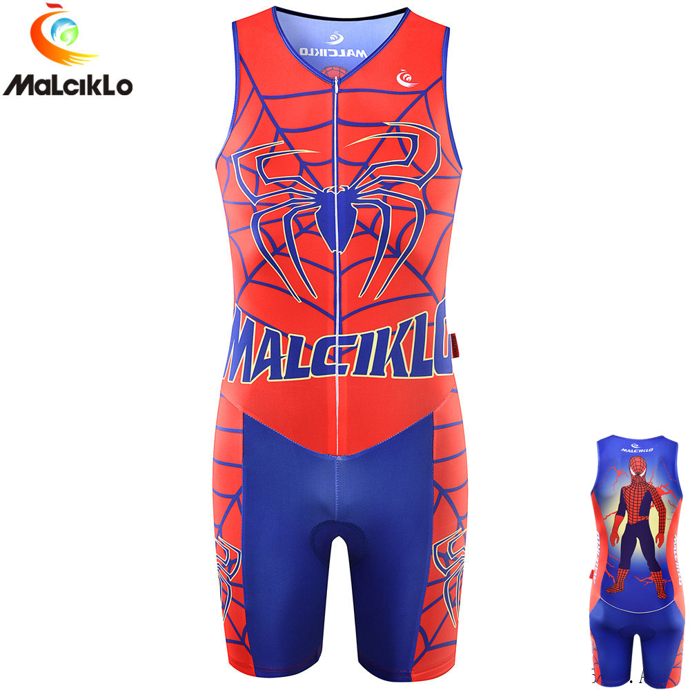 Malciklo Triathlon Suit Cycling Skinsuit Quick dry Sleeveless Cycling Jersey 2018 Mens Bike Clothing maillot ciclismo
