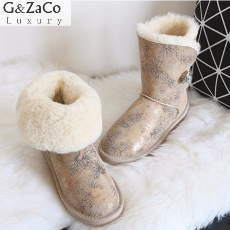 G&Zaco Luxury Winter Australia Sheepskin Snow Boots Natural Wool Sheep Fur Boots Mid Calf Crystal Button Flat Women Fur Boots штатив bosch bt 250 0601096a00