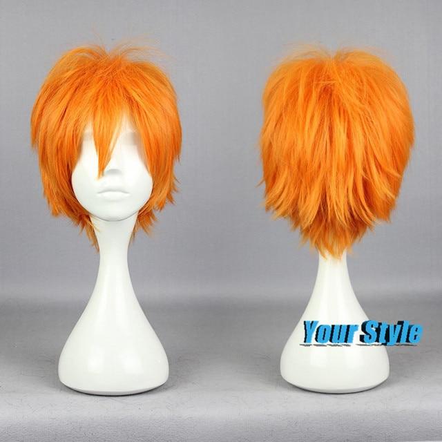 30 CM pendek lucu potongan rambut laki-laki Orange Cosplay Wig untuk pria a56bb35745