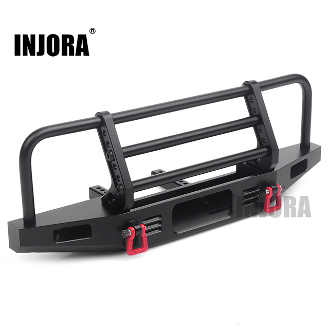 INJORA Adjustable Metal Front Bumper for 1/10 RC Crawler Traxxas TRX4 Defender Axial SCX10 SCX10 II 90046 90047