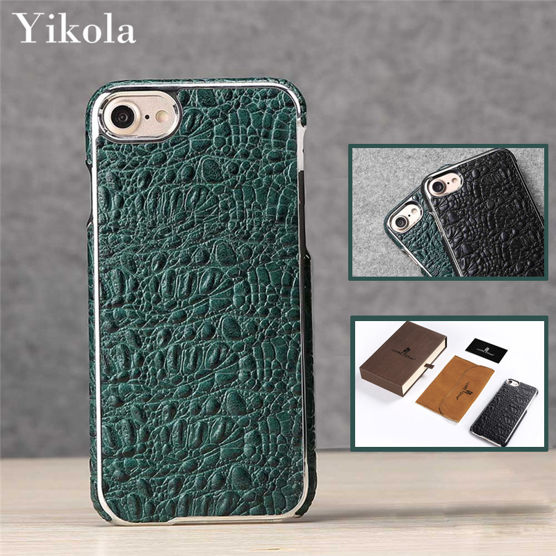 Green Crocodile Skin Genuine Leather Case for iPhone 7 plus LuxoFunda Back Cover for Samsung Galaxy S8 Plus amous Brand Case
