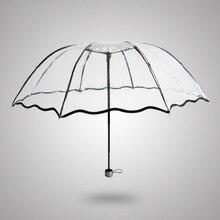 1 Stücke Taschenschirm Farbe Transparent Regenschirm Regen Frauen Nicht automatikschirm Für Outdoor-Mode Werkzeuge