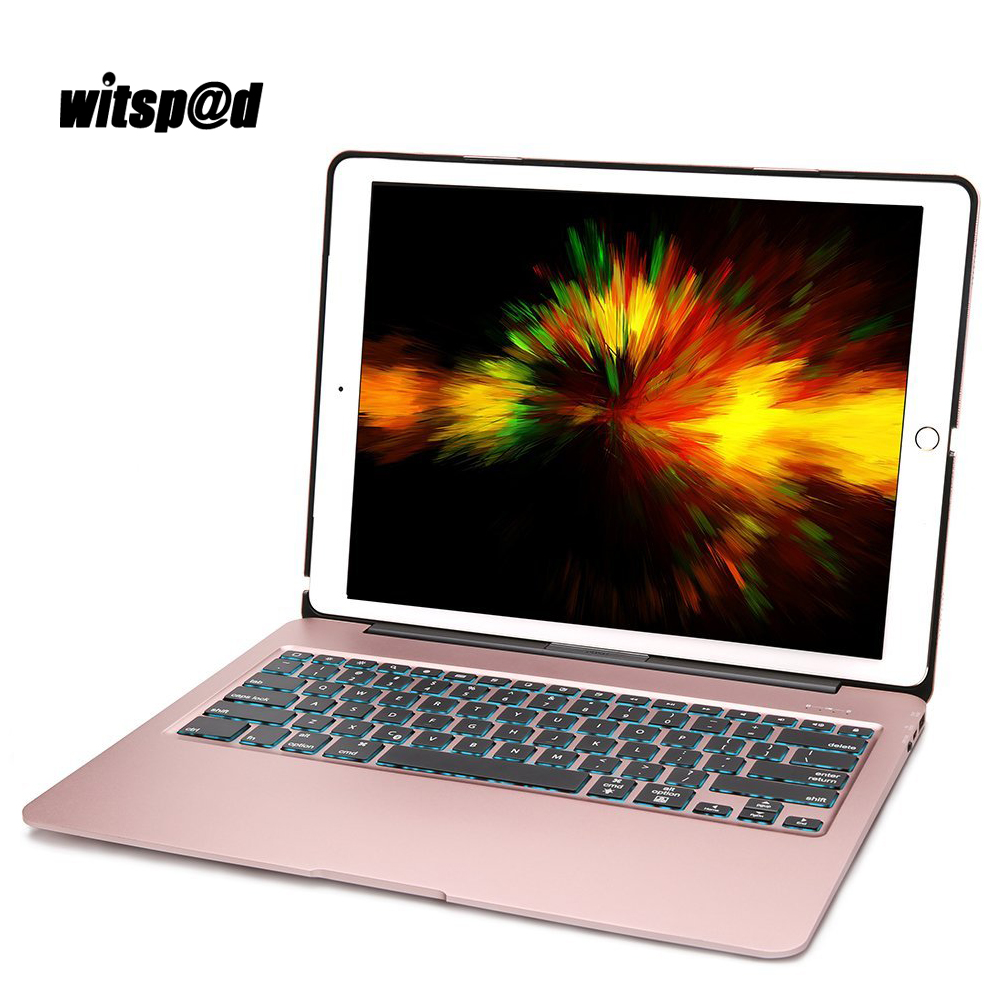 Witsp@d LED Backlit Keyboard For iPad Pro 12.9 Keyboard Case Slim Aluminum Wireless Bluetooth 3.0 Clamshell Case Cover + Gifts aluminum keyboard cover case with backlight backlit wireless bluetooth keyboard page 8