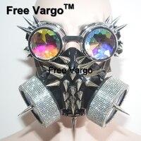 Горящий человек Streampunk голографические заклепки очки горный хрусталь Маска Хэллоуин Rave сценические костюмы косплей фестиваль одежда наряд