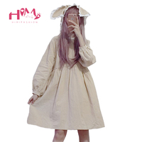 Japanese Soft Sister Lace With Cap Dress Autumn Women Kawaii Bunny Girl Slim Vestidos Fashion Cute