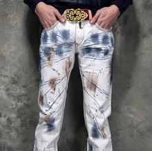 Горячая распродажа! Летом англии краска мотоцикл мужские джинсы ножки пант человек брюки персонализированные мода дизайнер марки новинка