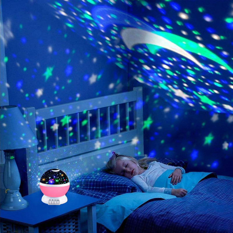 LED Projector Lights Stars Moon Rotating Colorful Projection Lights Novelty Night Lights USB Charging Christmas Children's Gifts