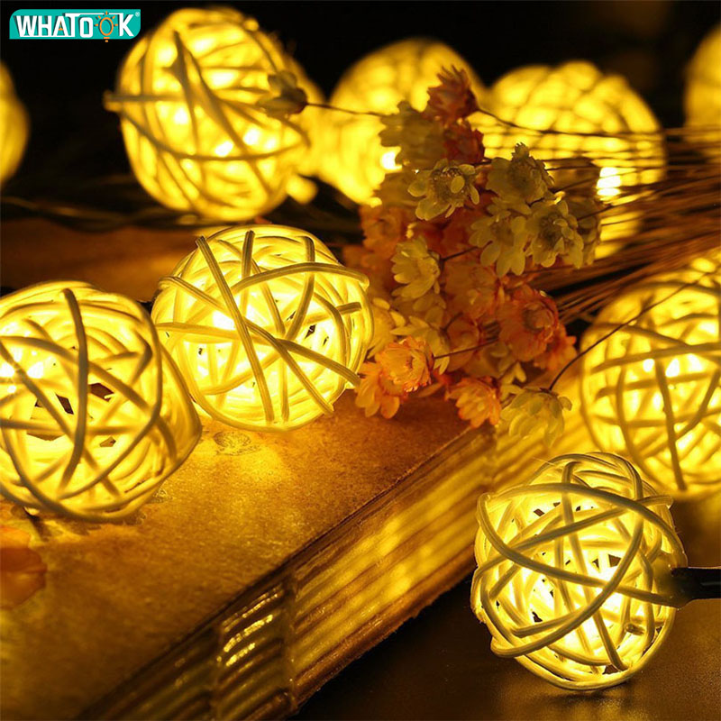 Rattan Ball String Lights Romantic Outdoor Indoor Fairy Christmas Lamps Garland Party Round Sepak Takraw Warm White Lighting DIY