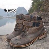 ARCX Motorcycle Ankle Boots Moto Vintage Morocicleta Waterproof Warm Botas Motocross Genuine Leather Outdoors Leisure Chuteiras