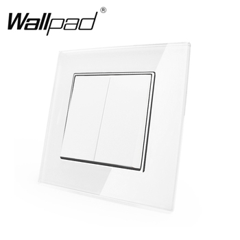 цены 2 Gang 2 Way Switch with Clips Wallpad 110-250V White Glass EU Style 2 Gang 2 Way Double Control Wall Light Switch with Claws