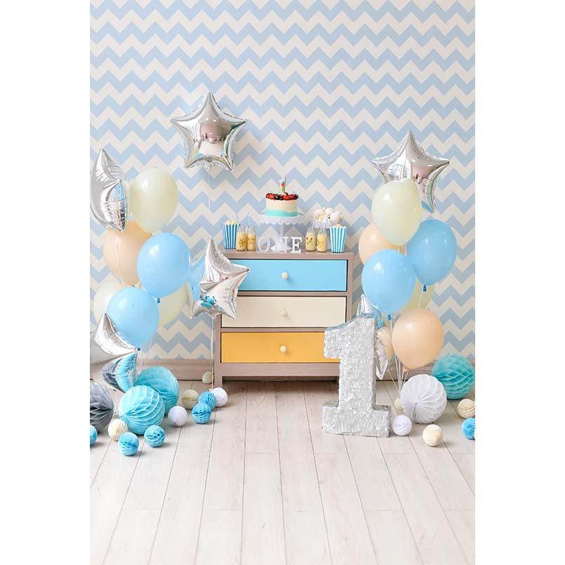 Chevrons Wall Balloons 1st Birthday Cake Baby Photography Backgrounds Customized Photographic Backdrops For Photo Studio 5X7ft
