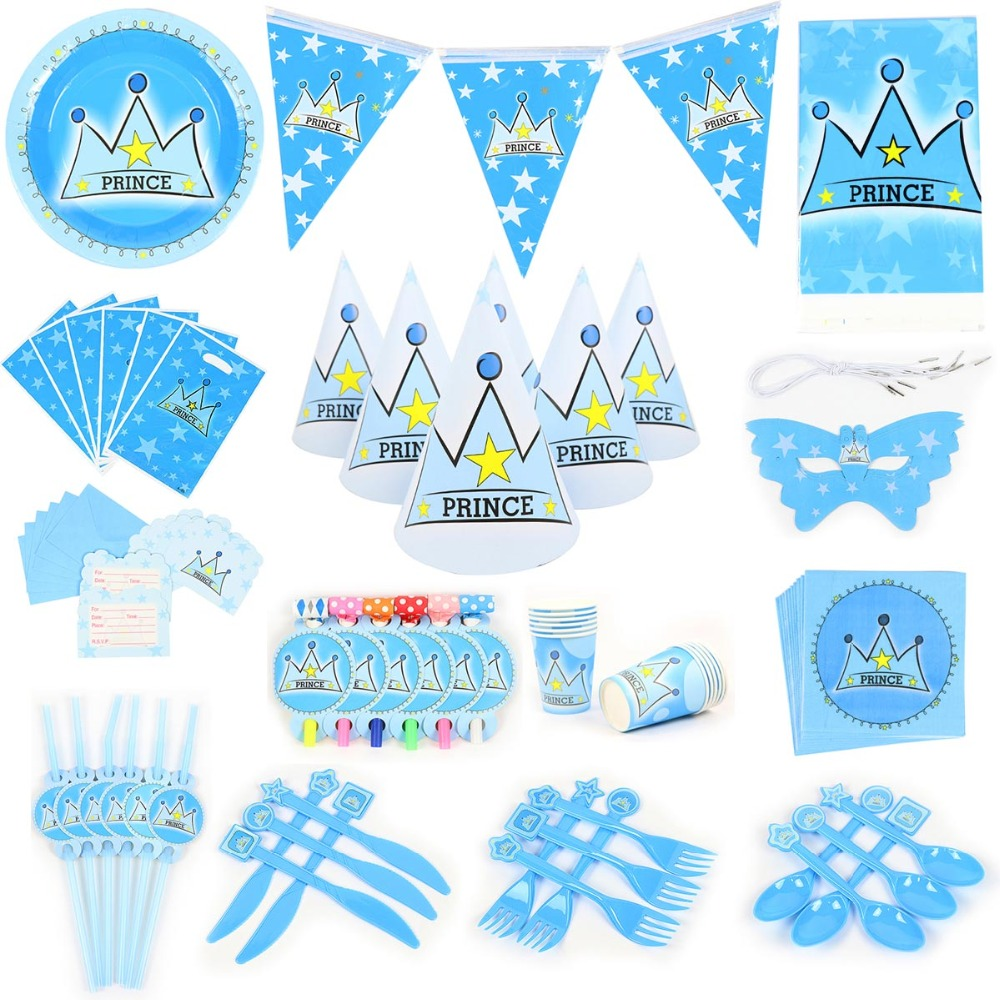 1 Satz Kleine Prinz Party Banner/geschenk Tasche/ballons Geburtstag Party Platte Popcorn Tasse Baby Shower Party Decor Kinder Favor Supplies Direktverkaufspreis