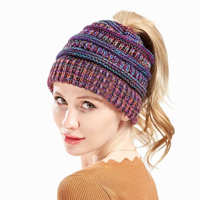 Women Ponytail Beanie Hat Knitted Messy Bun Beanies Caps 2018 Winter Warm Ponytail  Hats Mix Color Female Ski Cap Skullies Bonnet 45da2a18103