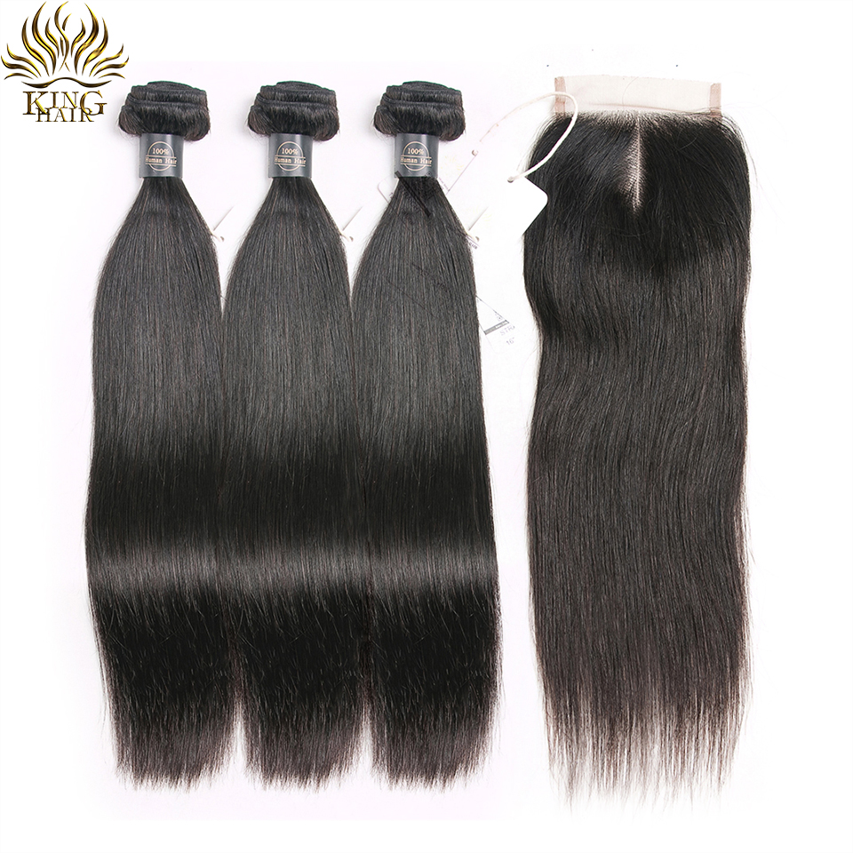King Peruvian Straight Hair Bundles With Closure Human Hair Bundles With Closure Remy Human Hair 3