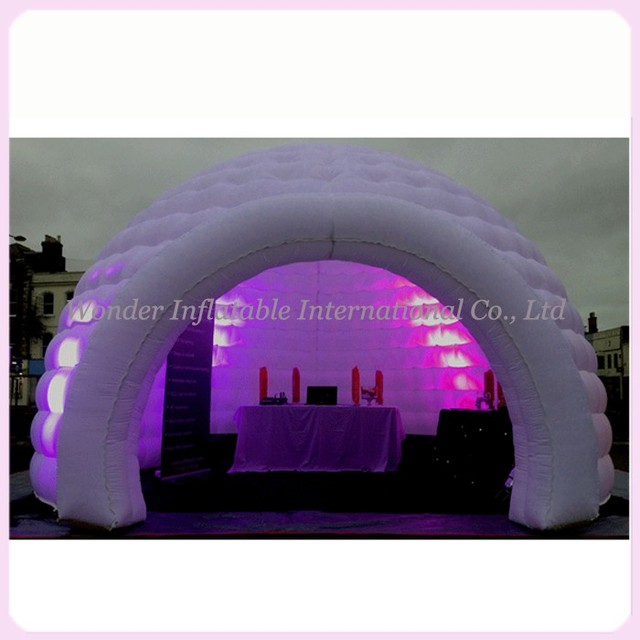 2016 most popular 5m led lighting inflatable dome tent party tent multifunctional igloo tent half dome wedding backdrop for sale