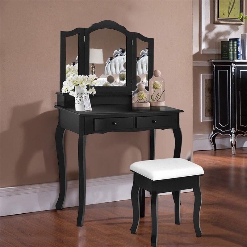 Us 157 87 30 Off 4 Drawers Wood Mirrored Vanity Makeup Desk Storage Dressing Table With Stool Bedroom Dresser Furniture Sets Hw56232 In Dressers