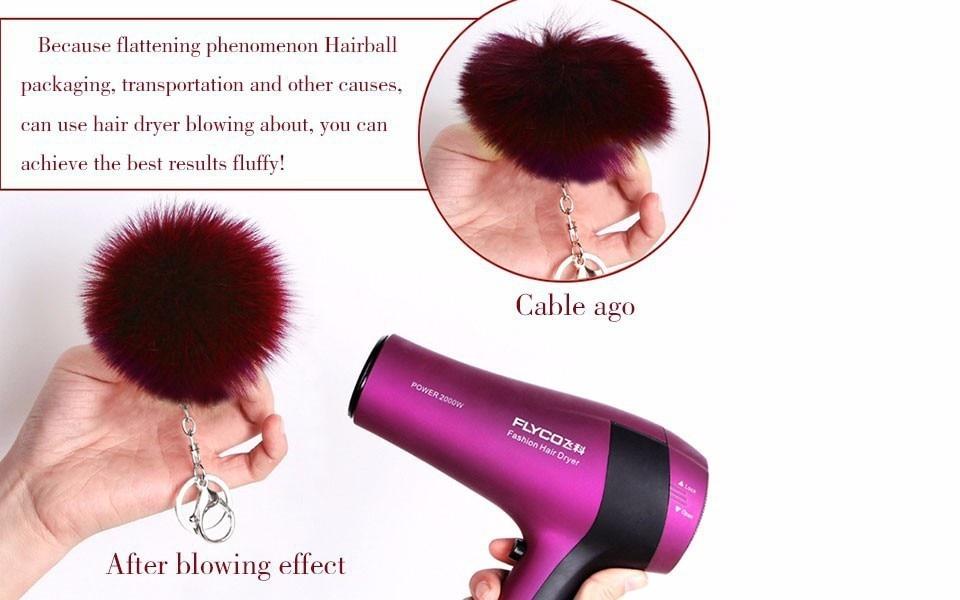 15 Colors 8Cm Genuine Leather Rabbit Fur Ball Plush Pom Pom Key Chain - Gold*