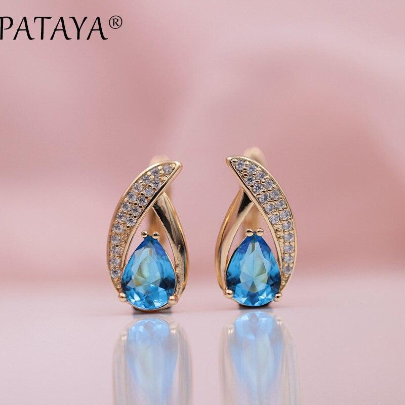 PATAYA New Present 585 Rose Gold Micro-wax Inlay Blue Water Drop Natural Zircon Dangle Earrings Women Wedding Luxury Jewelry