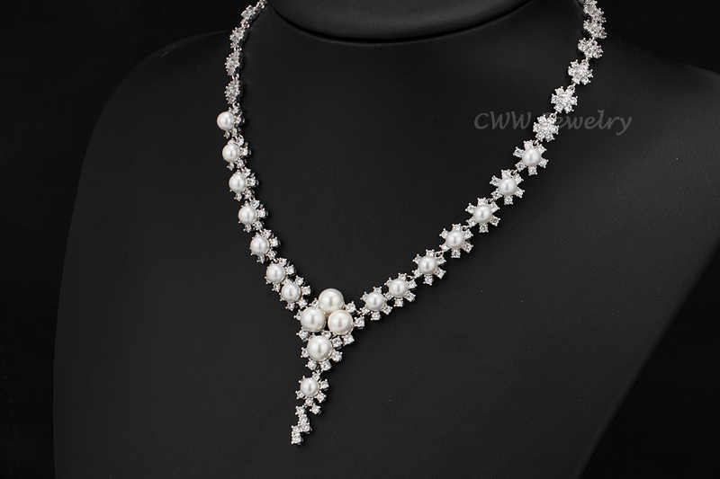 CWWZircons High Quality Round CZ Stones Setting Large Pearl Dorp Earrings And Necklace Jewelry Sets For Wedding T249