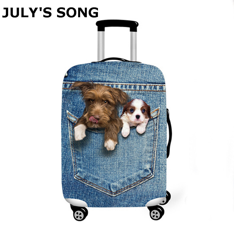 JULY'S SONG Luggage Cover Travel Suitcase Animal Prints Protector Suit 18-32''Suitcase Dog Cat Trolley Case Travel Accessories