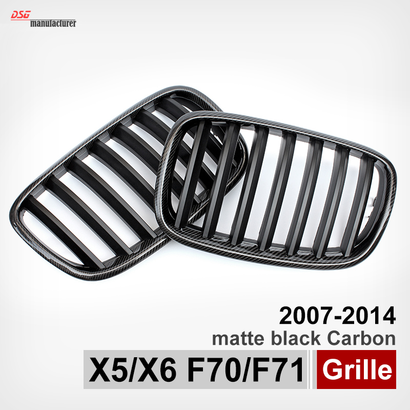 X5 E70 Carbon Fiber Trimed Matte Black ABS Wide Kidney Front Hood Grille Grill For BMW X5 E70 X6 E71 2008 - 2013 Front Mesh 1pair matte black double slat kidney grille front grill for bmw e70 e71 model x5 x6 suv m sport xdrive 2008 2012 car styling