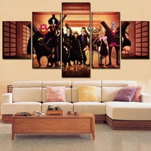 The straw hat Pirates ONE PIECE Anime 5 Pieces Paintings Canvas Wall Art Modern Home Decor Living Room