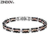 ZINDOV Stainless Steel Bracelets Men Black Rose Gold High Quality Fashion Jewelry Silver Male Bracelet Wistband