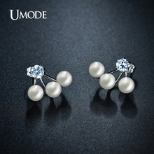 UMODE Double Sided Simulated Pearl Stud Earrings Jewelry For Women Rhodium plated Ear Jacket Earrings Fashion Brinco AJE0255B