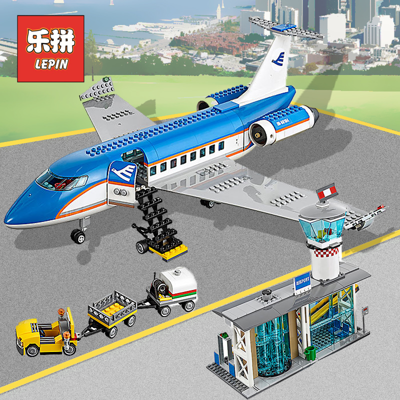 Lepin New City 02043 the Airport Passenger Terminal Airplane Model Set Building Blocks Bricks 60104 Plane Toys for Children Gift real pic high color decorative rivets women casual shoes brand designer lace up comfortable women flats shoes woman