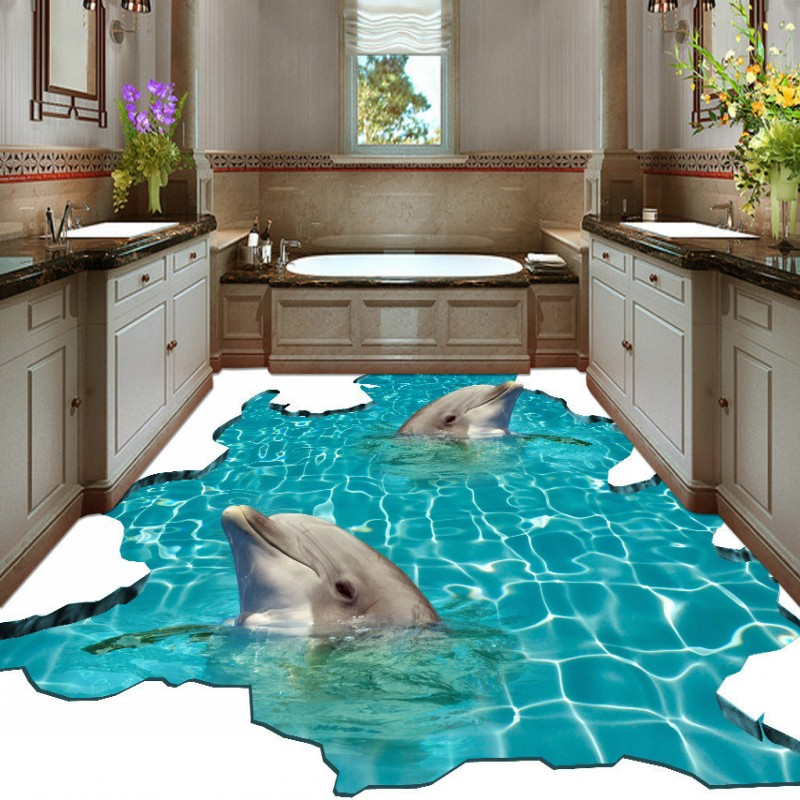 Free Shipping self-adhesive non-slip floor mural 3D underwater world dolphin bathroom walkway floor paste wallpaper