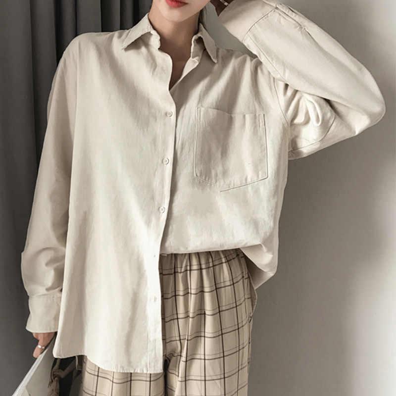 コットンリネン特大女性シャツトップパッチワークソリッドホワイト長袖オフィスの女性のシャツ女性の夏ターンダウン襟ルーズブラウス