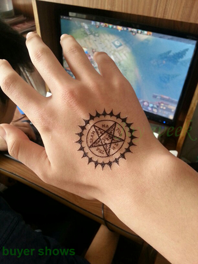 Waterproof Temporary Tattoo Sticker Black Butler Contract Symbol compass anime tatto flash tatoo fake tattoos for men women 1