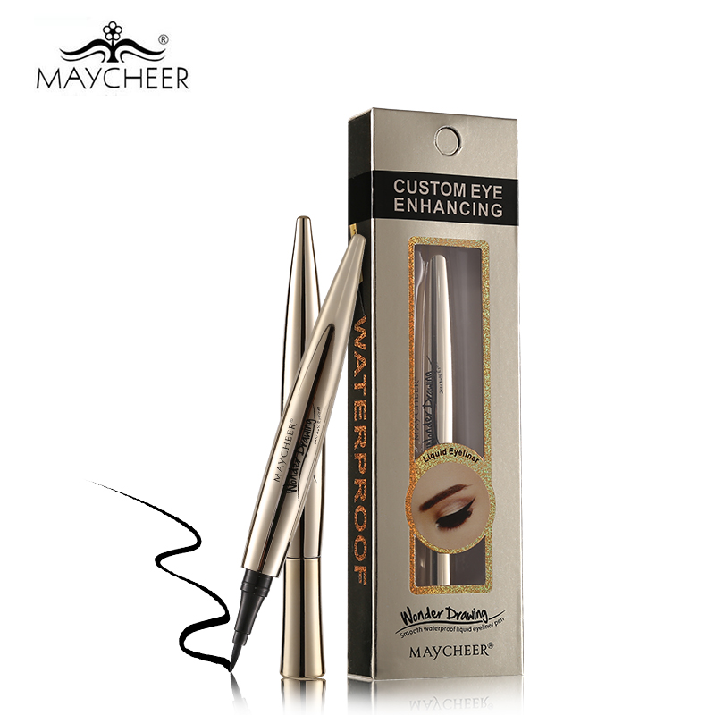 MAYCHEER Black Waterproof Liquid Eyeliner Pen Quick-dry Ultra Lasting Eye Liner Pencil Makeup Smooth Silky Non-dizzy Eyeliner image