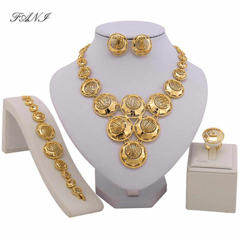 2017 thời trang phi jewelry đặt Vàng Màu Pha Lê Wedding Phụ Nữ Bridal Phụ Kiện dubai trang sức cho khách hàng Bán Buôn