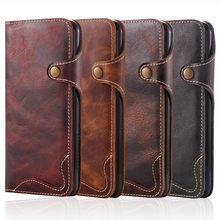New Natural Real Genuine Solft Leather Wallet Case For Apple iPhone 6 6S 7 Plus Phone Sleeve Bag Retro Vintage Flip Cover Clasp