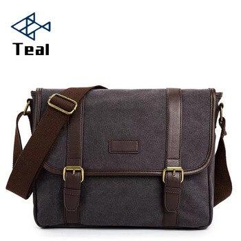 b1f2e6554 Los hombres de negocios bolsas de mensajero para hombres lona Crossbody  bolso de hombro paquete Retro sólido casuales, de oficina, bolsa de viaje  grande