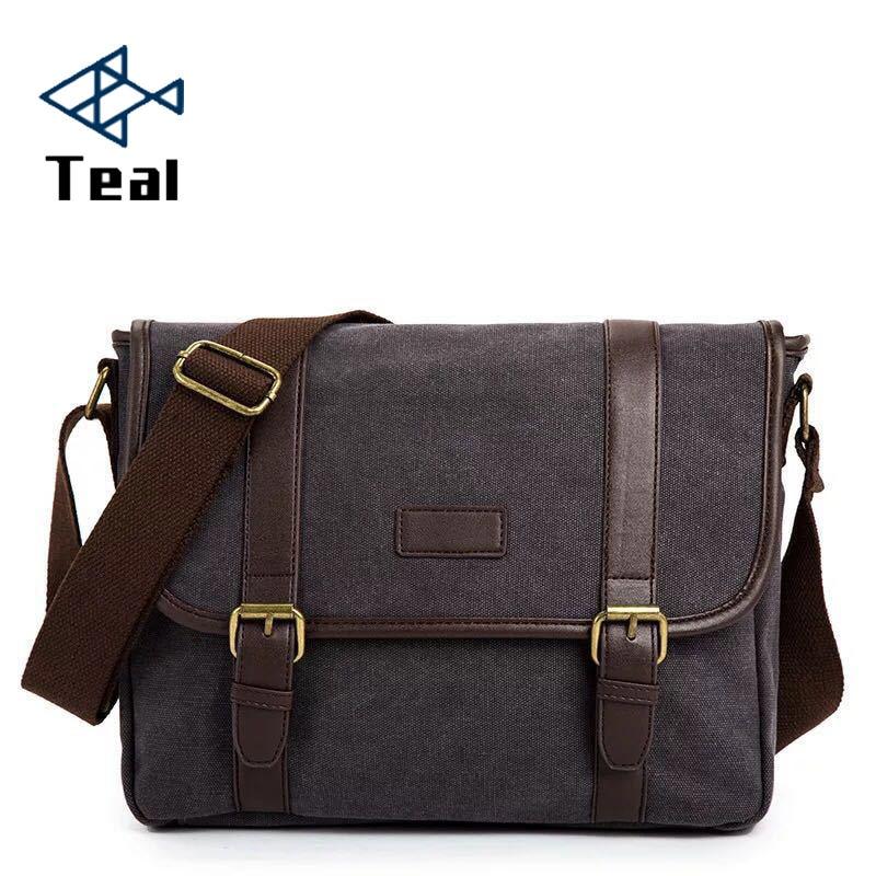 Men Business Messenger Bags For Men Canvas Crossbody Shoulder Pack Retro Solid Casual Office Travel Bag Large