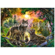 Full Diamond Embroidery Wolves Sunset forest Art Mosaic Diy Painting Cross Stitch Sets Home Decorative Rhinestones Gift
