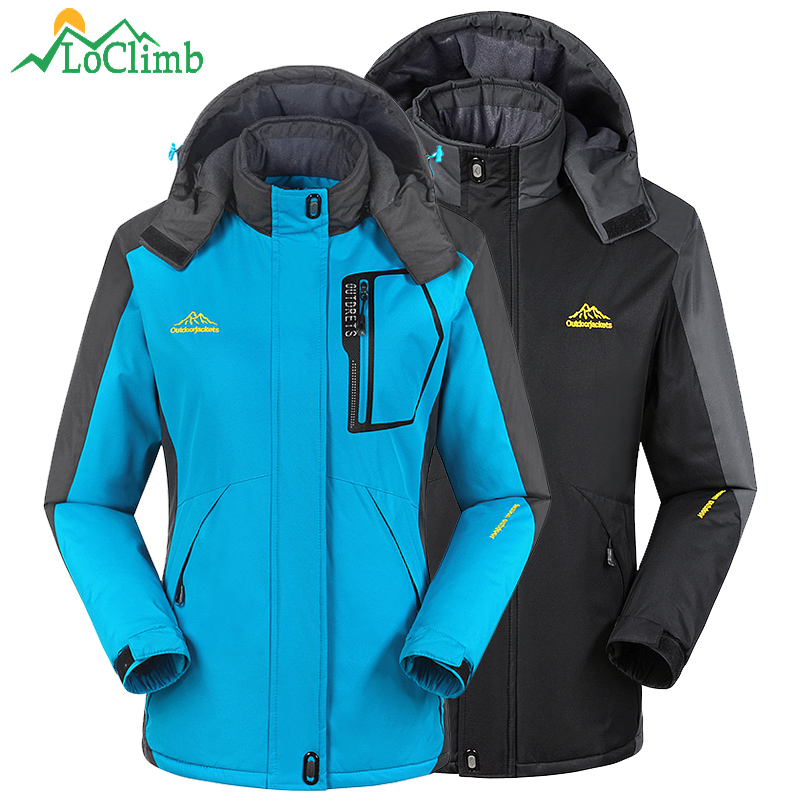 LoClimb M-8XL Men Women Hiking Jackets Waterproof Windbreaker Winter Warm Fleece Coat Outdoor Trekking Climbing Ski Jacket,AM196 winter outdoor tactical military training windbreaker hooded coat outwear men s hiking climbing cotton warm waterproof jacket