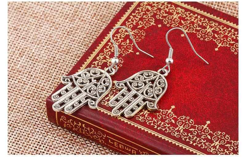 EY933 Vintage Etnis Ukiran Tangan Logam Perak Alloy Tangan Palm Liontin Anting-Anting 2018 Baru Fashion Wanita Pesona Perhiasan