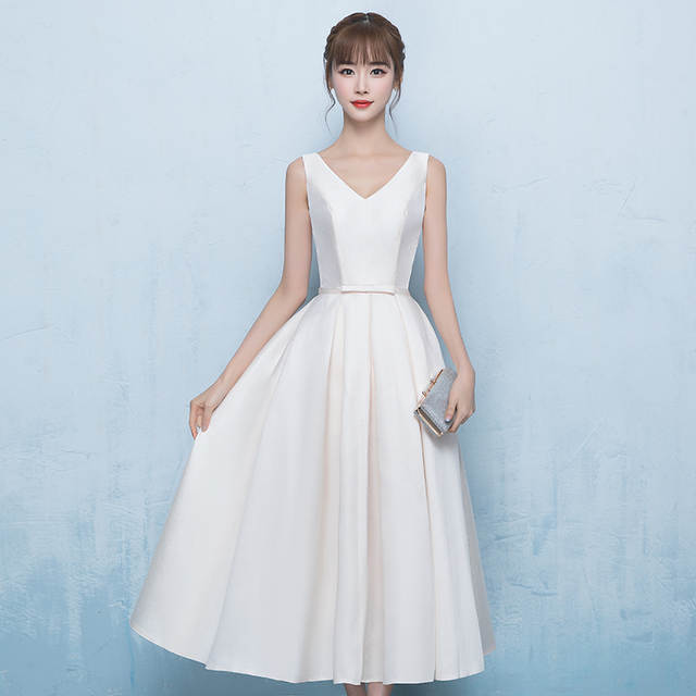 89d58944cceff Holievery Ivory White Tea Length Wedding Dresses with Bow 2019 New Satin A  Line Bride Dress Lace Up Mariage Gowns