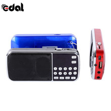 Mini Radio Speaker Blue Black Red Mini Portable Digital Stereo FM Music Player with TF Card USB AUX Input Sound Box(China)