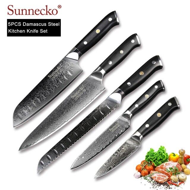 SUNNECKO 5 adet mutfak bıçakları seti şef ekmek soyma Santoku maket bıçağı japon şam VG10 çelik pişirme araçları G10 kolu