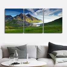 Laeacco Canvas Calligraphy Painting 3 Panel Posters Prints Natural Landscape Mountain Wall Artwork Home Living Room Decor