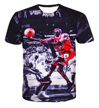 Tide Brand Men s Short Sleeve T Shirt 2016 New Arrival Printing Michael 3D Basketball Fans