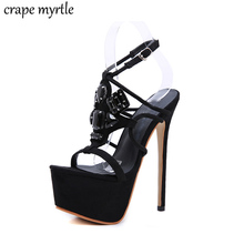 цена на ankle strap heels summer shoes high heels sandles women High Heels sexy women pumps Open Toe studded sandals gladiator YMA830
