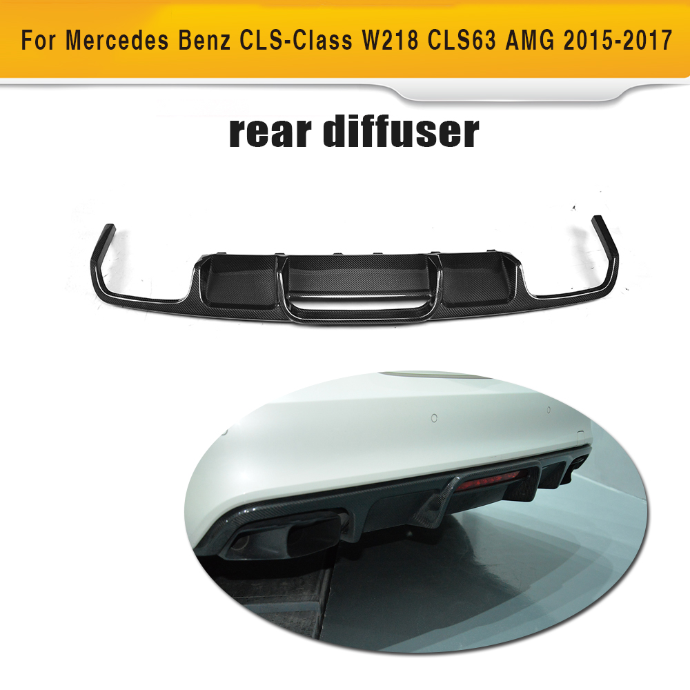 CLS Class Carbon Fiber Rear Bumper Exhaust Diffuser Lip Spoiler for Mercedes Benz W218 Sedan 4 Door 15-17 CLS63 AMG S 2010 2014 mercedes benz cls63 amg black weathertech cargo liners